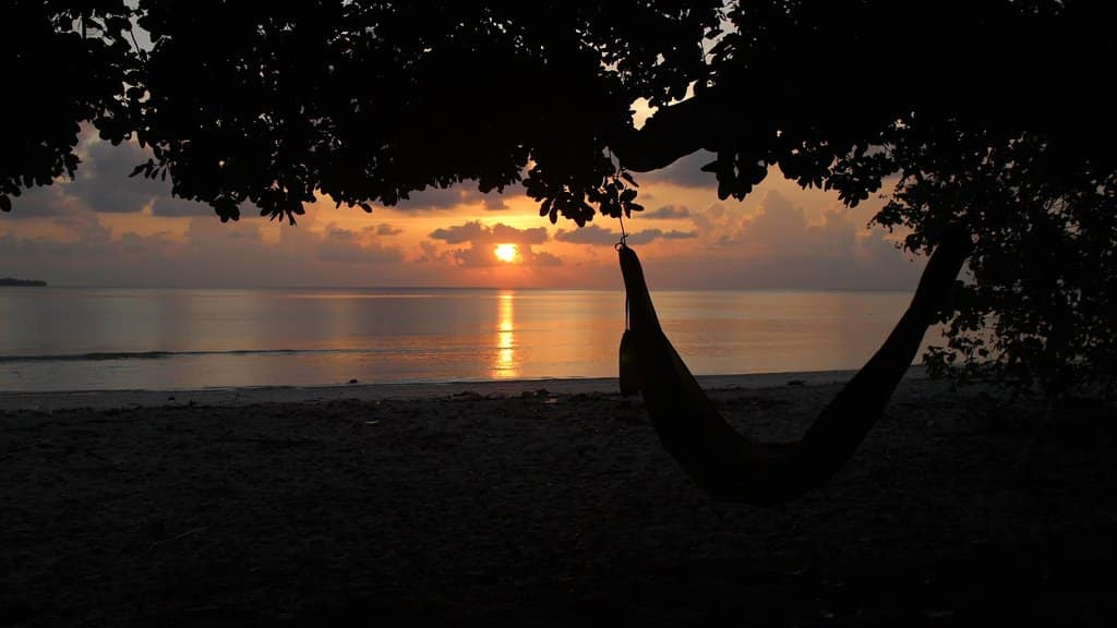 Camping Hammock on Beach at Sunset
