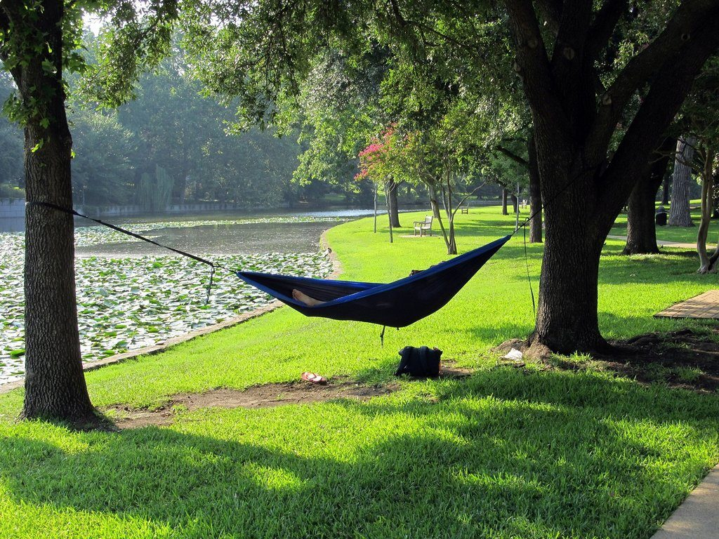 Camping Hammock Next to River