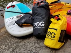 Waterproof Dry Bags and Boards at the lunch stop