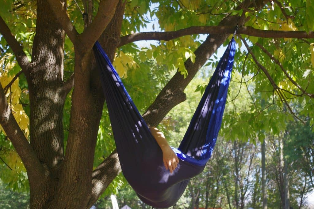 Picture of Camping Hammock hung in a tree with backpacker in it