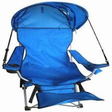 camp chair with footrest and shade